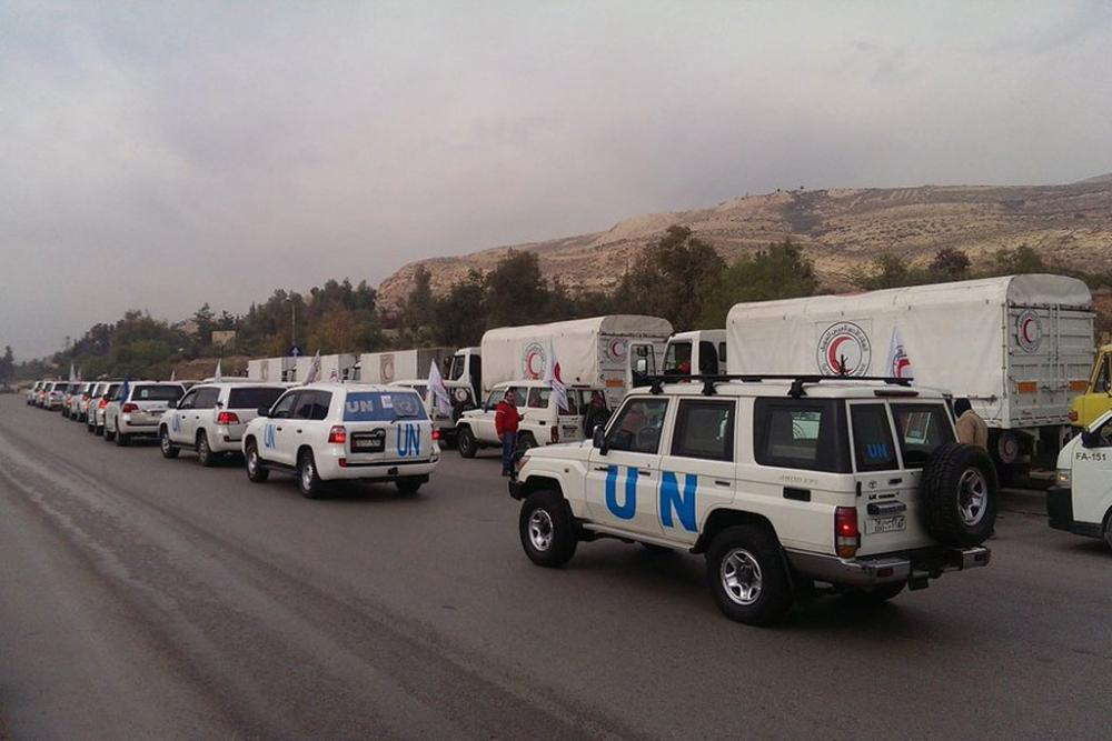 A humanitarian convoy on its way to the besieged Syrian town of Madaya. OCHA Syria.jpg