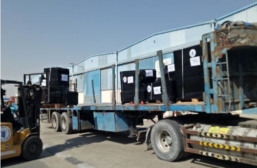 WFP shipped crucial Information and Communications Technology (ICT) equipment from Dubai to Madagascar. Photo: WFP