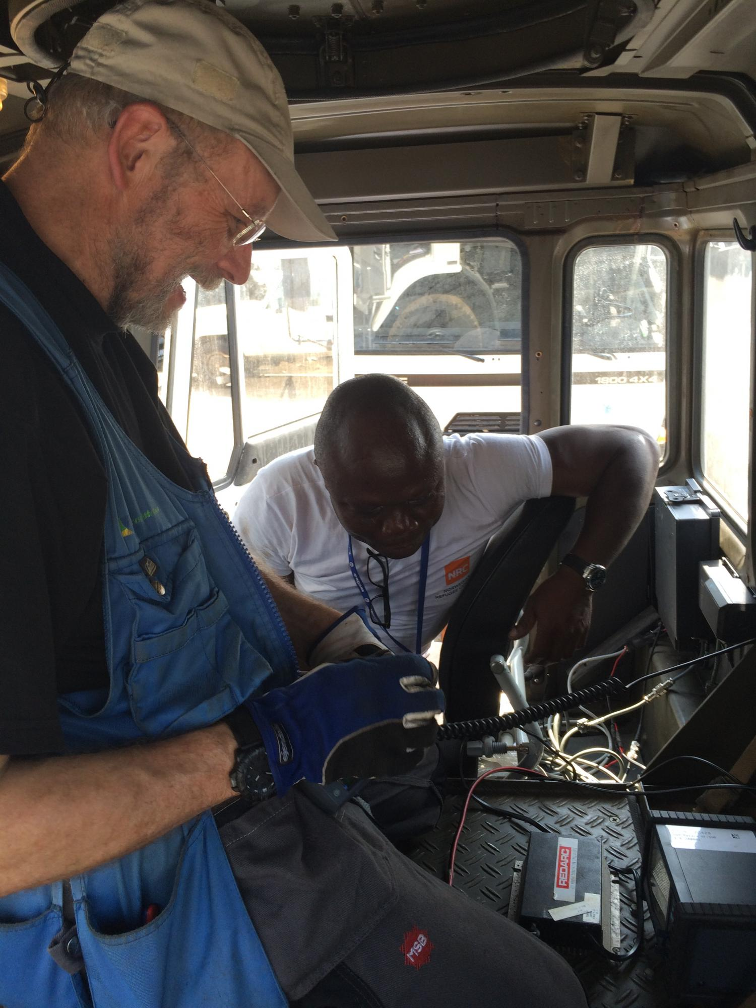 Security communications systems were installed in trucks during the Ebola emergency to support the security of teams in the field - Monrovia, Liberia.