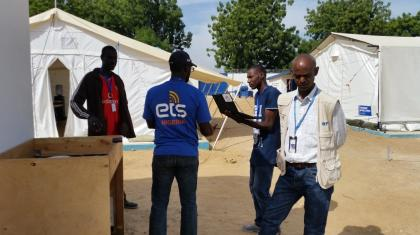 The ETS carrying out a follow up mission at the humanitarian hub in Bama, Borno state.