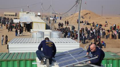 ETC's Habib Shashati and Lasse Axelsson deploy security telecommunications services in As Salamiyah for the use of the humanitarian community as part of the Mosul response.