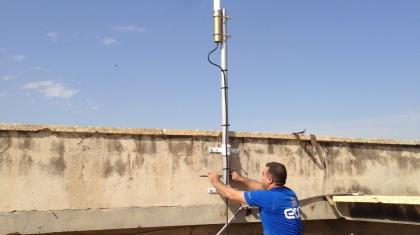 Muhammad Khaled deploying antenna in Aleppo