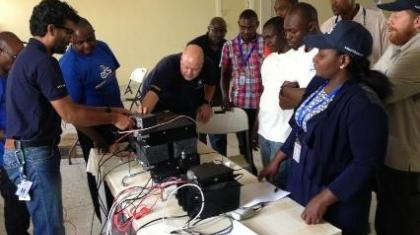 Khawar Ilyas, ETS security telecommunications specialist, delivering the Analogue/Digital radio training in Maiduguri.