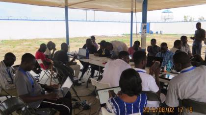 Humanitarians using ETS Internet services in the hub in Dikwa, where the ETS is supporting 150 humanitarians on a weekly basis.
