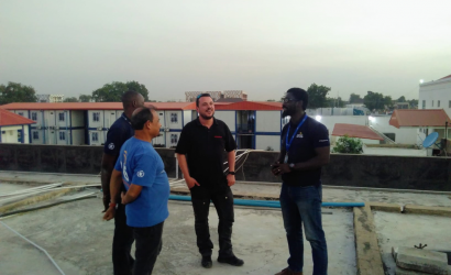 From left to right: Mithilesh Chaubey, Telecommunications Specialist (ETS), Ahmed Yusuf, Senior IT Operations Assistant (ETS), Gilles Hoffman, emergency.lu Coordinator, Ekué Ayih, ETS Coordinator. Photo: WFP / Emma Gilson